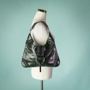 BCBGirls Black Leather Grommet Purse